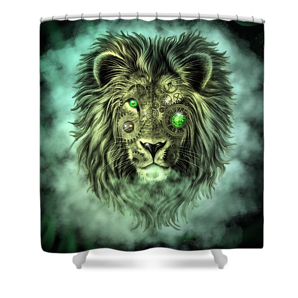 Emerald Steampunk Lion King Shower Curtain