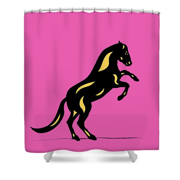 Emma II - Pop Art Horse - Black, Primrose Yellow, Pink Shower Curtain