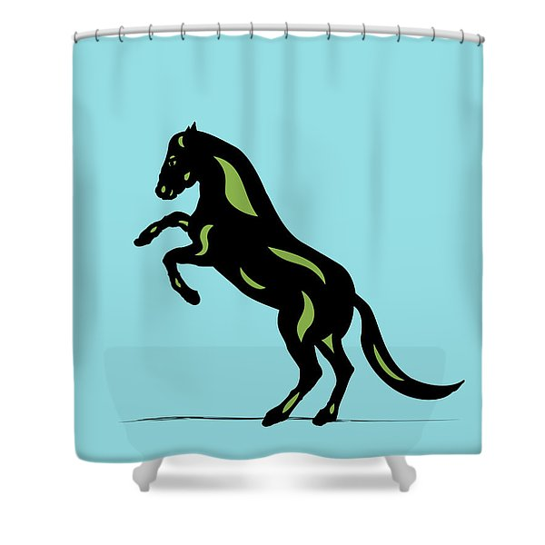 Emma - Pop Art Horse - Black, Greenery, Island Paradise Blue Shower Curtain