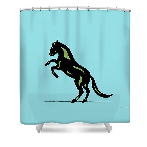 Emma - Pop Art Horse - Black, Greenery, Island Paradise Blue Shower Curtain