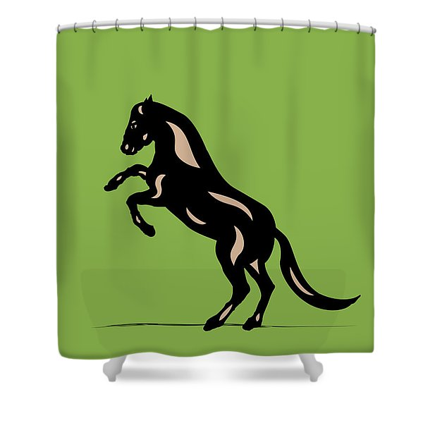 Emma - Pop Art Horse - Black, Hazelnut, Greenery Shower Curtain
