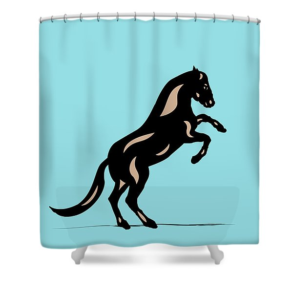 Emma II - Pop Art Horse - Black, Hazelnut, Island Paradise Blue Shower Curtain