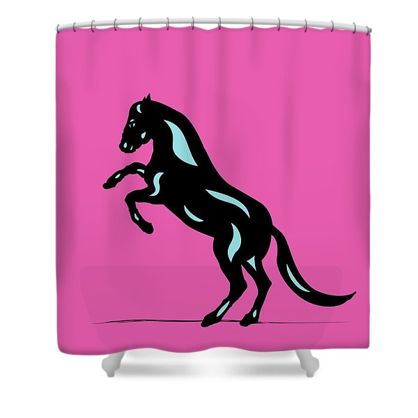 Emma - Pop Art Horse - Black, Island Paradise Blue, Pink Shower Curtain