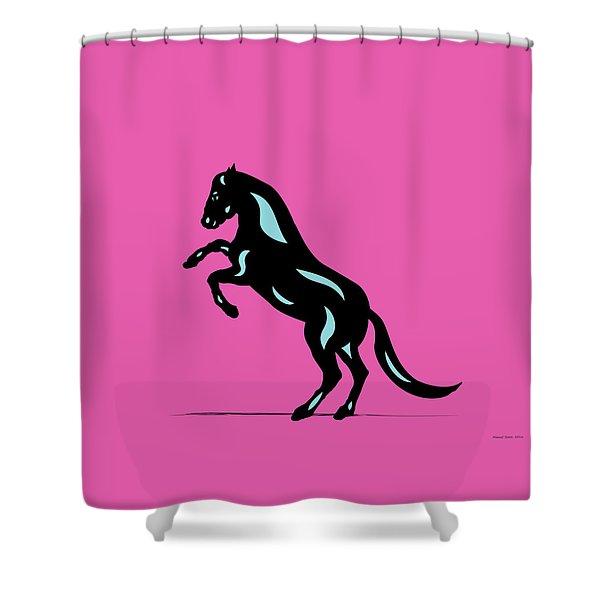 Emma - Pop Art Horse - Black, Island Paradise Blue, Pink Shower Curtain