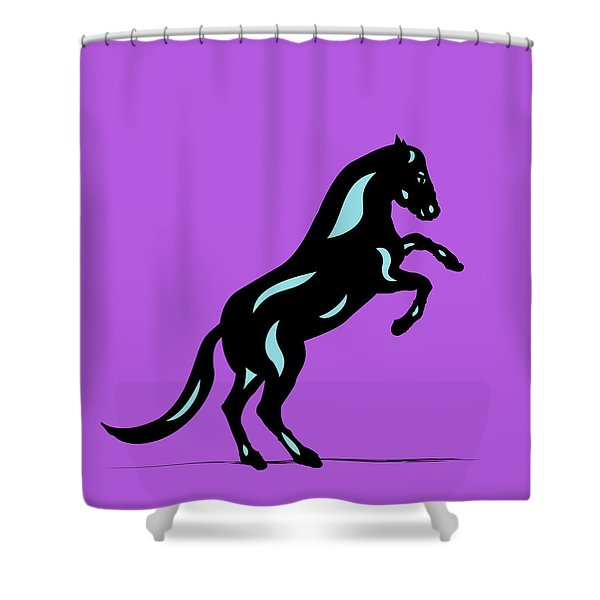 Emma II - Pop Art Horse - Black, Island Paradise Blue, Purple Shower Curtain