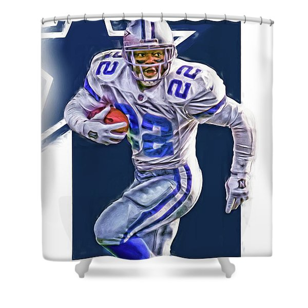 Emmitt Smith Dallas Cowboys Oil Art Shower Curtain