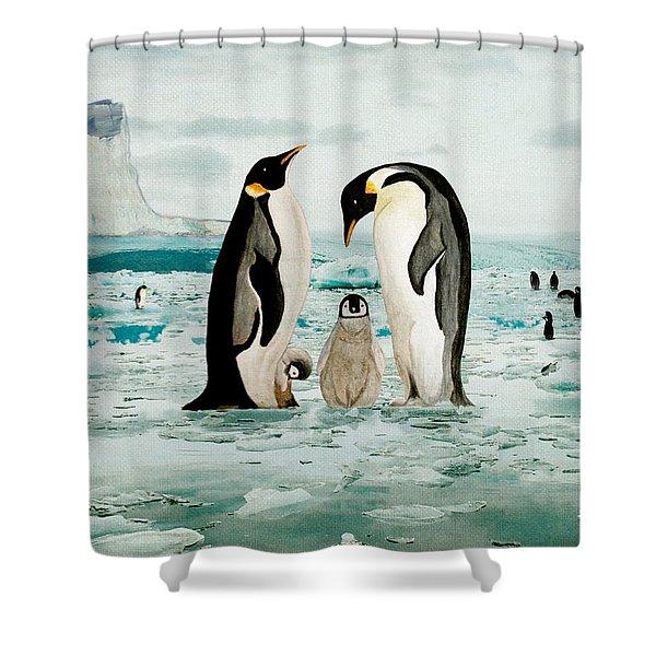 Emperor Penguin Family Shower Curtain