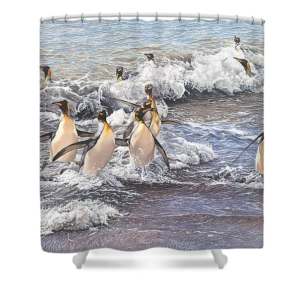 Shower Curtain featuring the painting Emperor Penguins by Alan M Hunt
