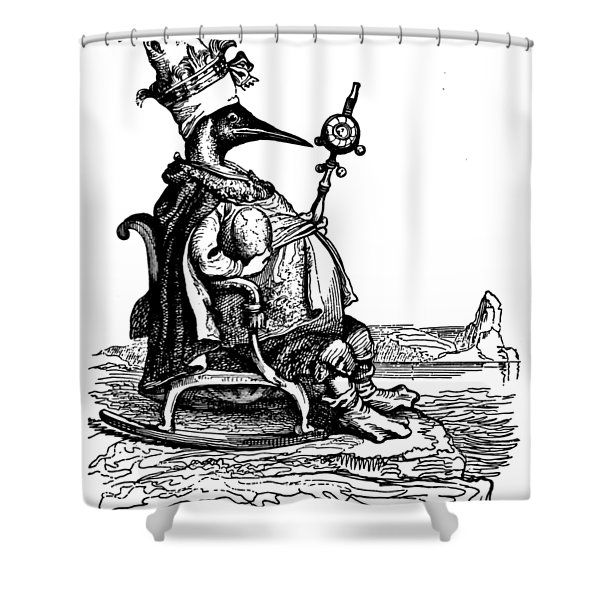 Empire Penguin Grandville Transparent Background Shower Curtain