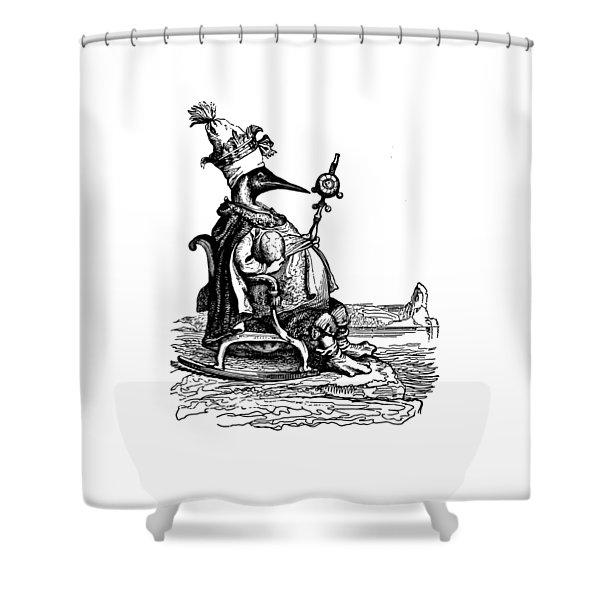 Empire Penguin Grandville Transparent Background Shower Curtain