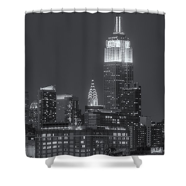 Empire State And Chrysler Buildings At Twilight II Shower Curtain