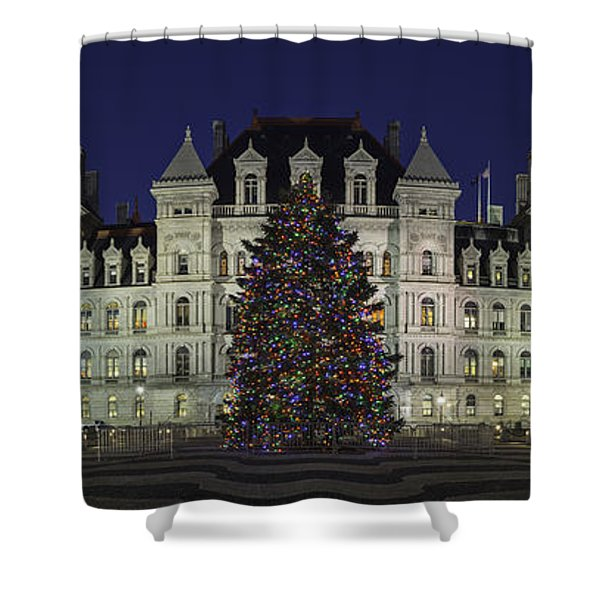 Empire State Plaza Holiday Shower Curtain
