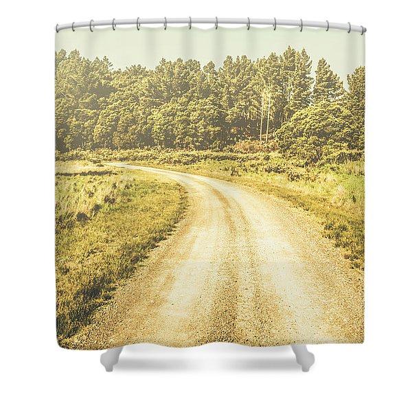 Empty Curved Gravel Road In Tasmania, Australia Shower Curtain