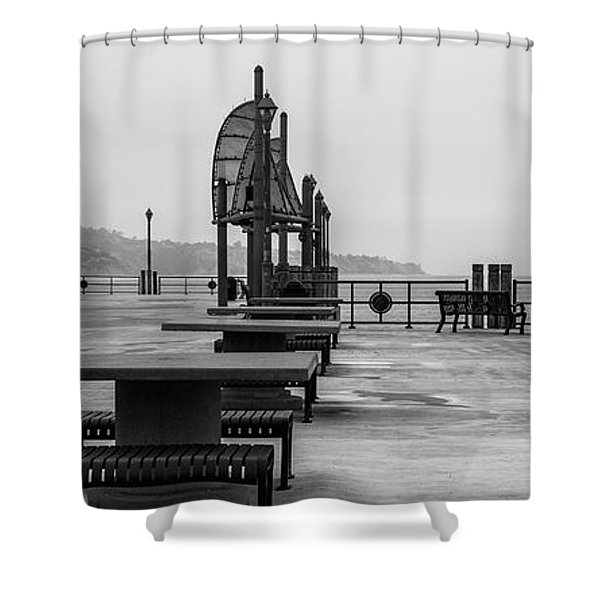 Shower Curtain featuring the photograph Empty Pier by Michael Hope
