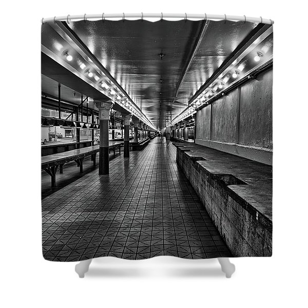 Empty Pike Place Market In Seattle Shower Curtain