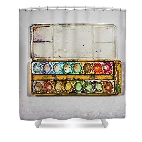 Empty Watercolor Paint Trays Shower Curtain