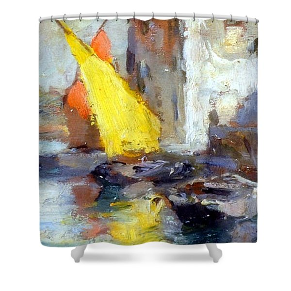 Shower Curtain featuring the painting En Plein Air In Venice by Rosario Piazza