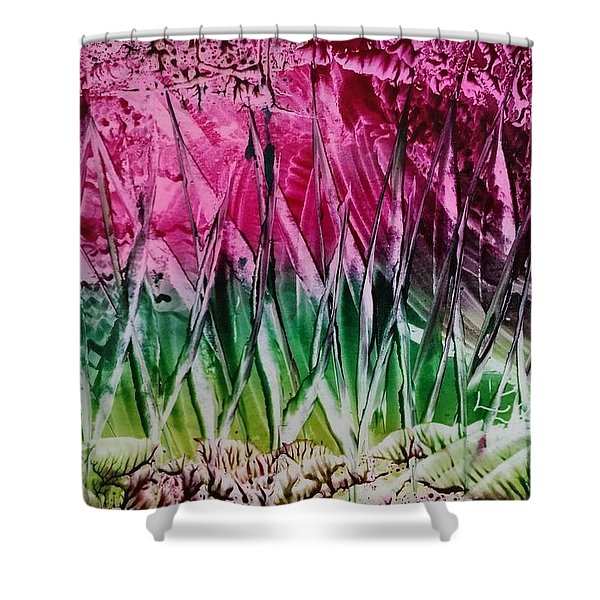 Encaustic Abstract Pinks Greens Shower Curtain