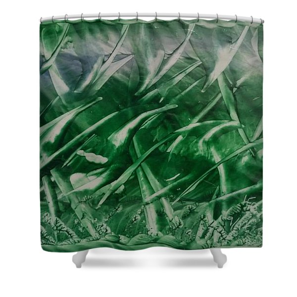 Encaustic Green Foliage With Some Blue Shower Curtain