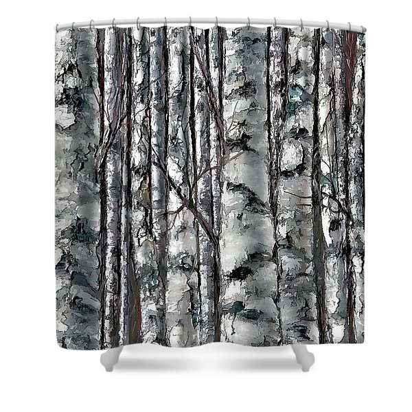 Enchanted Forest -black And White Shower Curtain