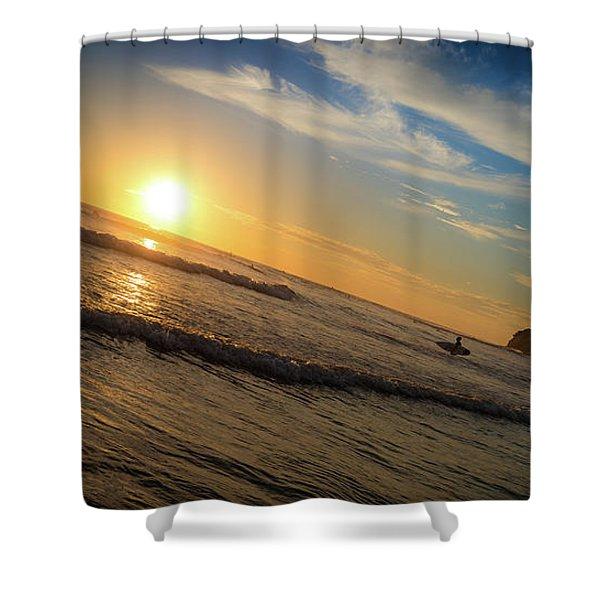 End Of Summer Sunset Surf Shower Curtain