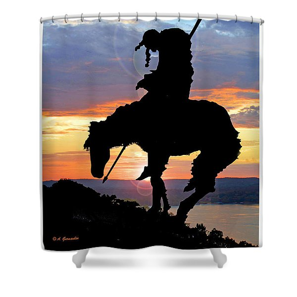 End Of The Trail Sculpture In A Sunset Shower Curtain