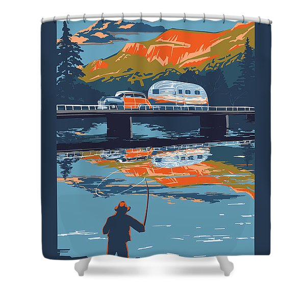 Shower Curtain featuring the painting Enderby Cliffs Retro Airstream by Sassan Filsoof