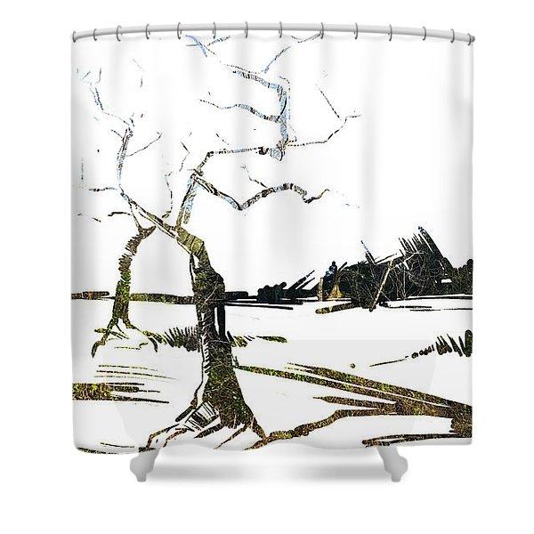 Energy . Tree Shower Curtain