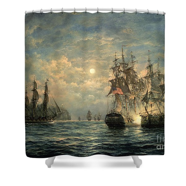 Engagement Between The 'bonhomme Richard' And The ' Serapis' Off Flamborough Head Shower Curtain