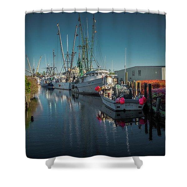 Englehardt,nc Fishing Town Shower Curtain