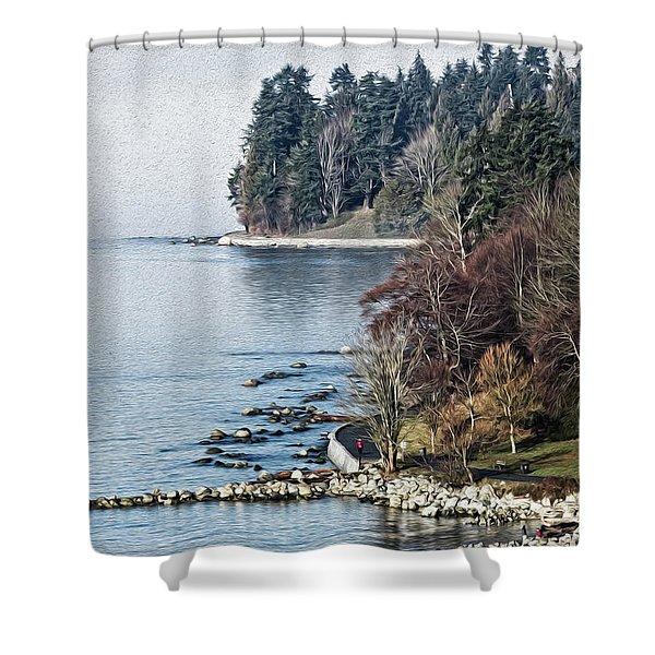 English Bay Shore Shower Curtain