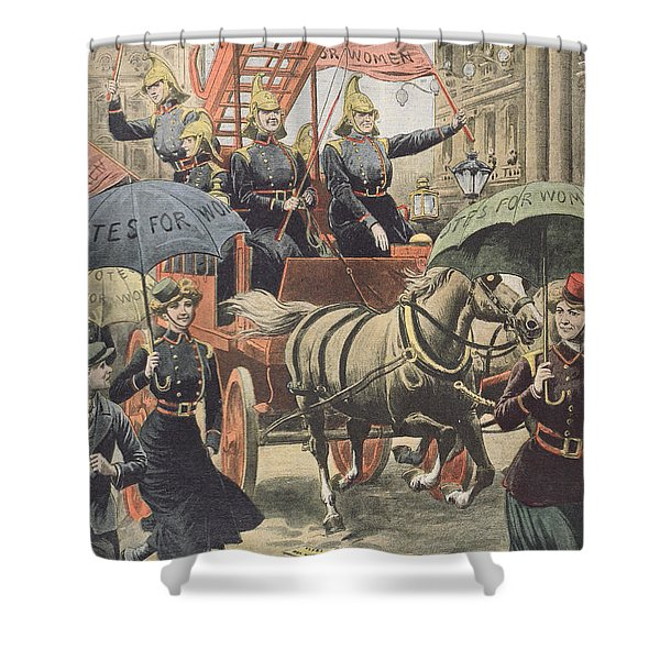 English Suffragettes Dressed As Firemen Shower Curtain