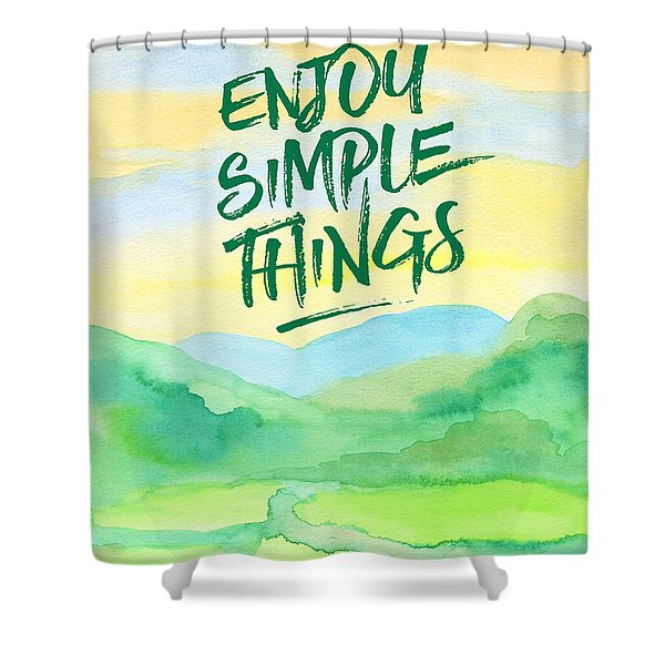 Enjoy Simple Things Rice Paddies Watercolor Painting Shower Curtain