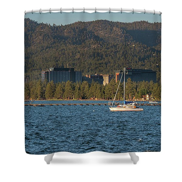 Enjoying The Lake Shower Curtain