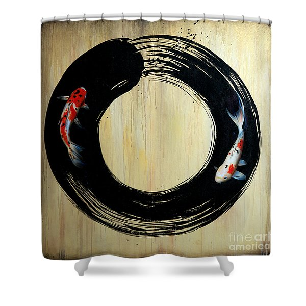 Shower Curtain featuring the painting Enso With Koi by Sandi Baker