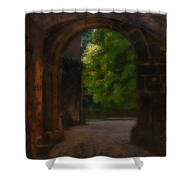 Entrance To The Castle Wiesenburg In The Mark Shower Curtain