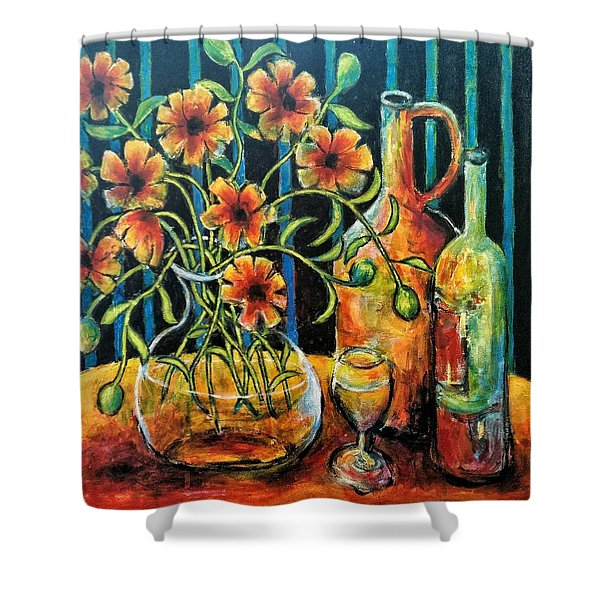 Entwining Poppies Shower Curtain