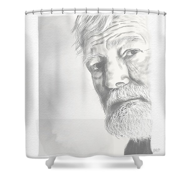 Shower Curtain featuring the digital art Ernest Hemingway by Antonio Romero