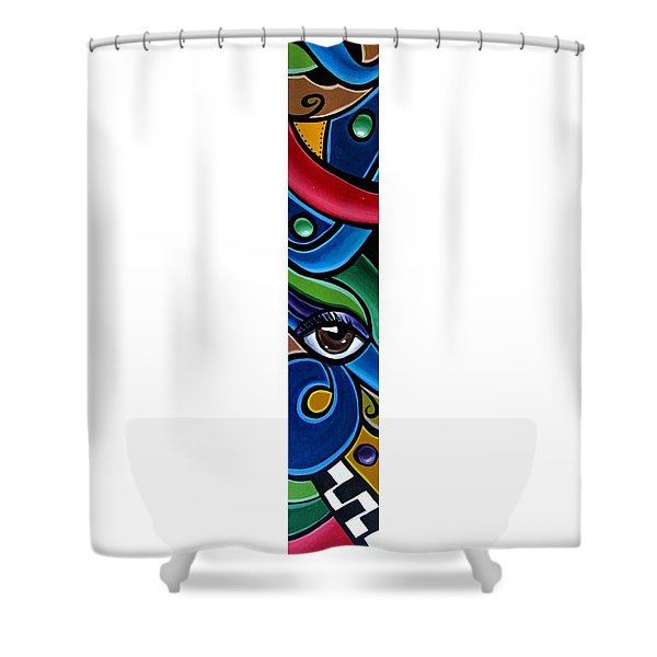 Colorful Abstract Art Painting, Modern Art Brown Eye Art Paintings Shower Curtain