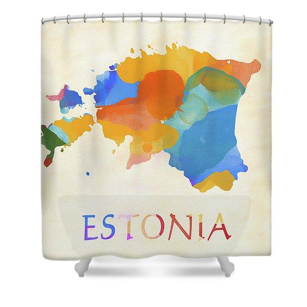 Estonia Watercolor Map Shower Curtain