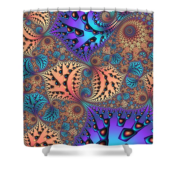 Etched Leaves Shower Curtain