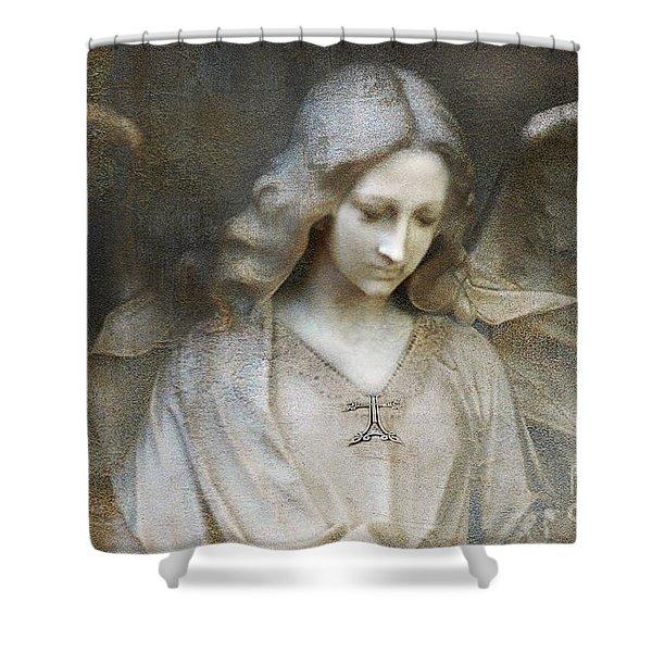 Ethereal Spiritual Stone Textured Angel In Prayer Shower Curtain