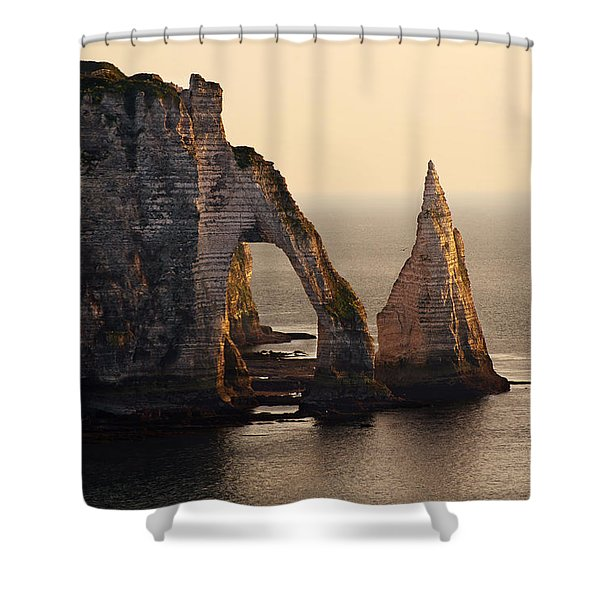 Shower Curtain featuring the photograph Etretat In Morning Sun by Jaroslaw Blaminsky