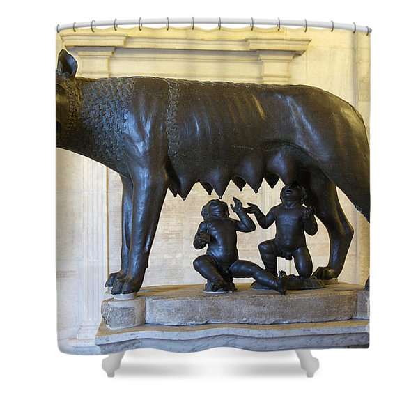 Etruscan Bronze Statue Of The She-wolf With Romulus And Remus. Capitoline Museum. Capitoline Hill. R Shower Curtain