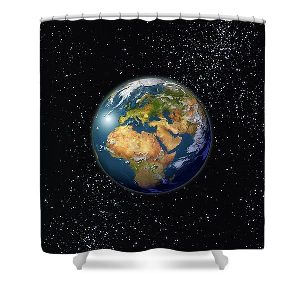Europe, England, Middle East, North Africa As Seen From Space  Shower Curtain