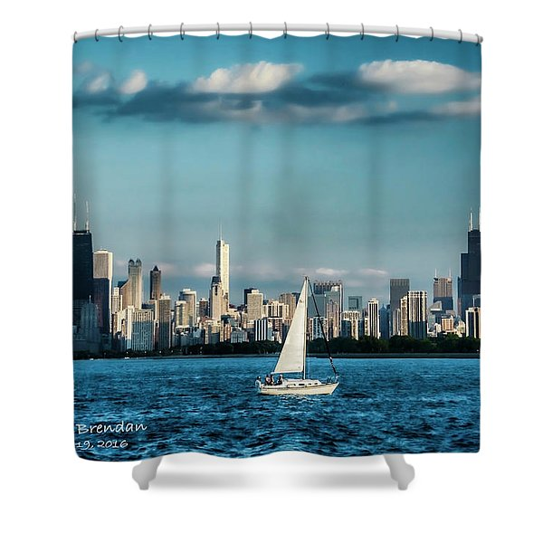 Evan's Chicago Skyline  Shower Curtain