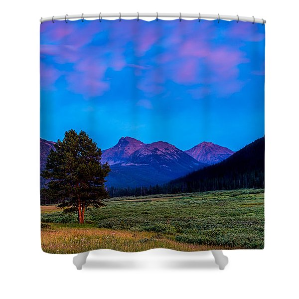 Evening At Christmas Meadows Shower Curtain