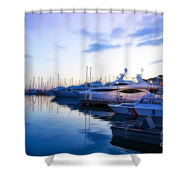 evening at water in Cannes Shower Curtain