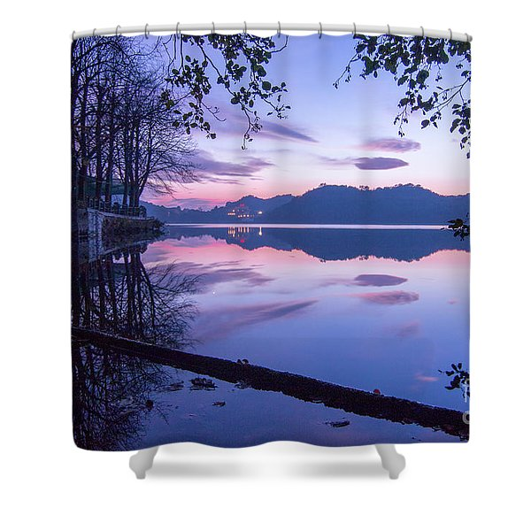 Evening By The Lake Shower Curtain