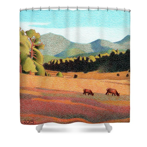 Evening Light Evergreen Shower Curtain